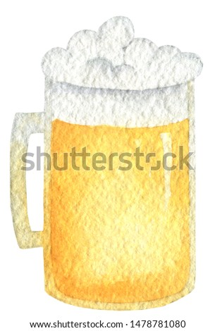Oktoberfest amber beer in a mug with a lid of foam. Hand drawn watercolor painting on white background clip art graphic elements for creative design and printable decor.