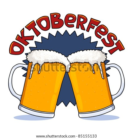 Oktoberfest beer mugs illustration; Beer glasses for October festival