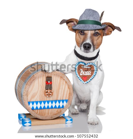 oktoberfest dog with beer barrel