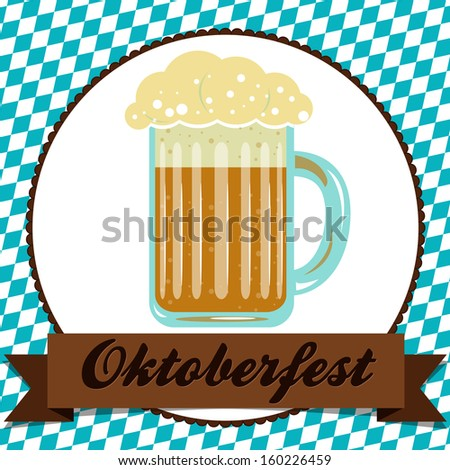 Oktoberfest greeting card with a beerl on bavarian flag pattern. Design with traditional symbols for event in Munich, Bavaria, Germany