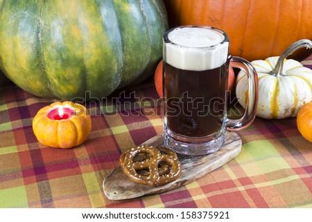 oktoberfest harvest beer mug with fall seasonal decoration
