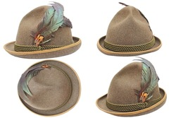 oktoberfest hunting decorated hat in four different views over white background