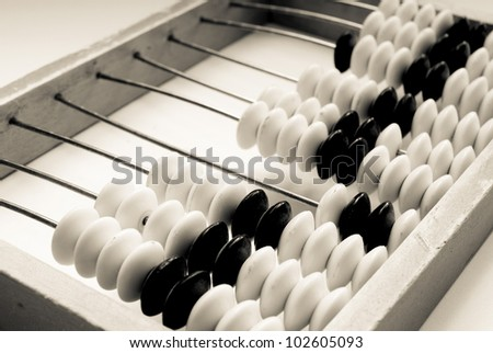 old abacus closeup on a grey background