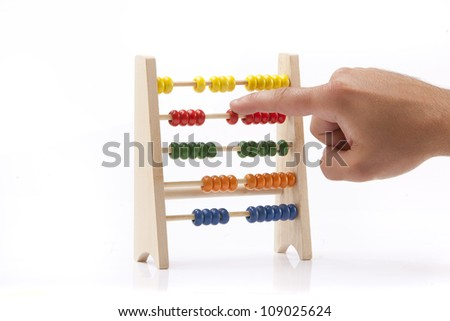 Old abacus isolate on white background