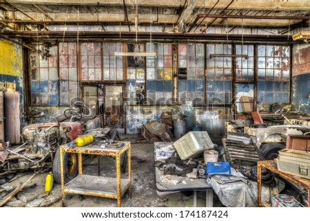 Old abandoned airplane hanger - stock photo