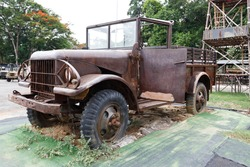 Old, abandoned army vehicle during world war 2.