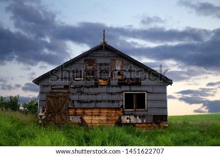 Old abandoned barn in a freshly grow field on a bright summer day