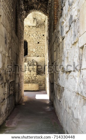 Old abandoned basement in a castle with corridors and labyrinths. #714330448