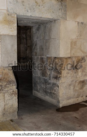 Old abandoned basement in a castle with corridors and labyrinths. #714330457