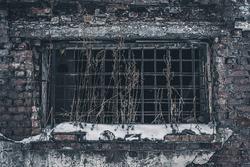 old abandoned brick building. abandoned factory.
