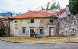 Old abandoned broken and dirty house building in Novi Vinodolski Croatia.