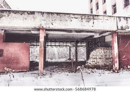 old abandoned building of...