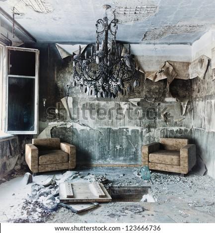 old abandoned burned interior photo - stock photo