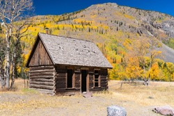 Old abandoned cabin in Capitol City, Colorado along the Alpine Loop Trail in the San Juan Mountains