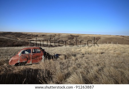 Old Abandoned Car in Field Saskatchewan Canada