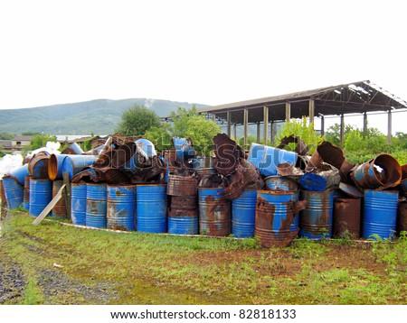 Old abandoned chemical fuel barrels
