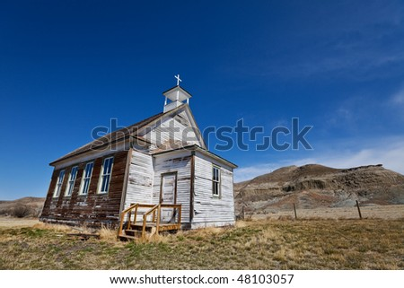 Old abandoned church in the badlands of alberta canada