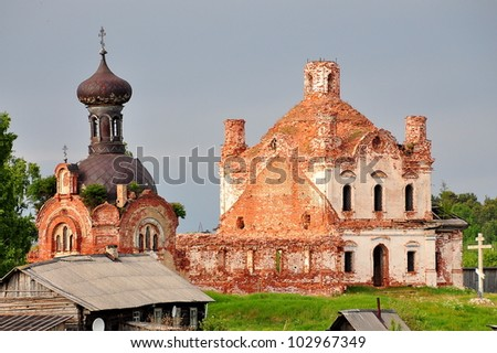 Old Abandoned Church on Bank of Volga River - Russia