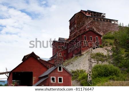 Old, abandoned copper mine building in Alaska - stock photo