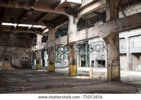 old abandoned factory during demolition