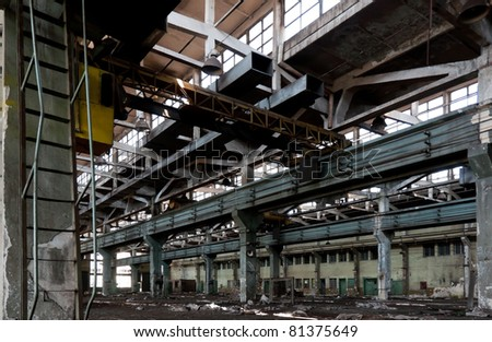 old abandoned factory during demolition - furnace