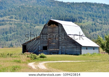 old abandoned farm building in mountains