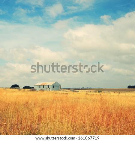 old abandoned farm in field