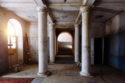 Old abandoned historical mansion, inside view.
