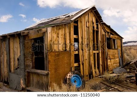 Old abandoned House Along Hwy 395 - stock photo
