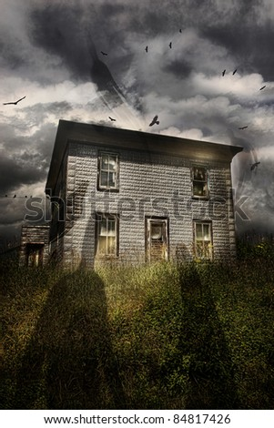 Old abandoned house with flying ghosts