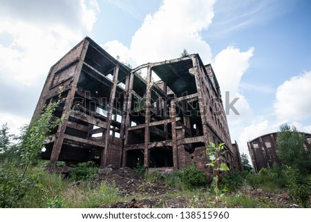 Old abandoned industrial building. stock photo