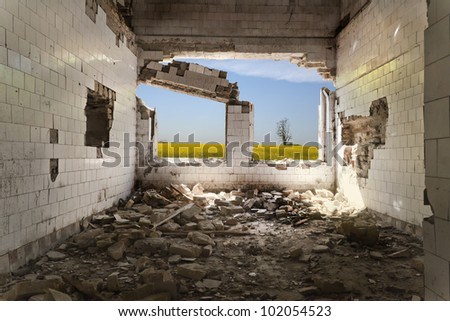 Old abandoned military building interior