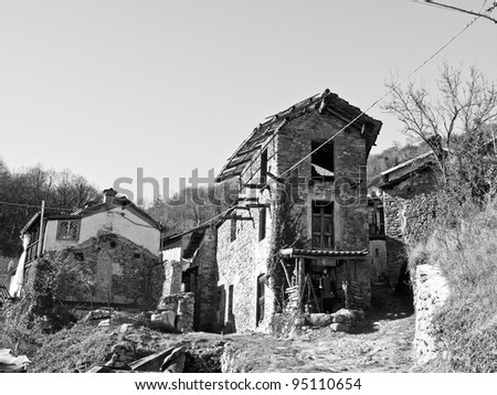 Old abandoned mountain hamlet in Susa Valley, Turin, Italy