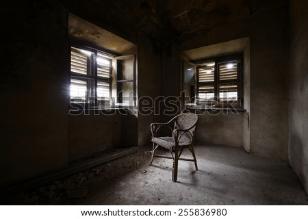 old abandoned room with chair