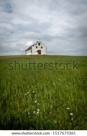 Old abandoned rural church in rural Alberta. #1517673365