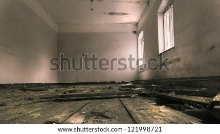 Old abandoned russian barrack, the remains of the meeting room