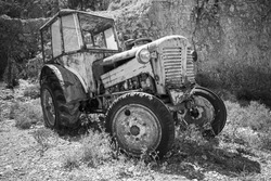Old abandoned rusted tractor stands on dry grass. Black and white photo