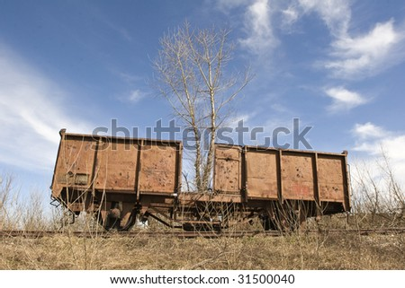 old abandoned rusting train and railway