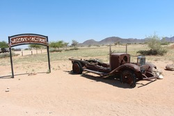 old abandoned rusty car in solitaire in namibia