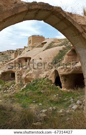 Old Abandoned Settlement of Cavusin or Chavushin in Cappadocia, Anatolia, Turkey