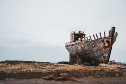 Old abandoned ship wreck in Akranes, Icleand