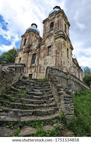 Old abandoned Skoky cathedral with cracket facade, pair of towers and wide stairways Zdjęcia stock ©