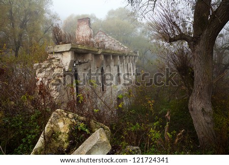 Old abandoned stone mill nineteenth century among the thickets of trees