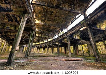 Old abandoned train roundhouse