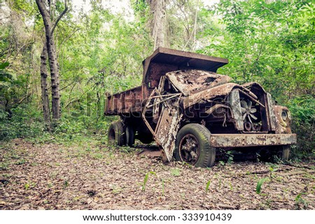 old abandoned truck in the...