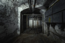 Old abandoned underground passage point of view
