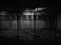 Old abandoned warehouse. Dirty weathered storage in Bosanski Brod, Bosnia and Herzegovina. - Image