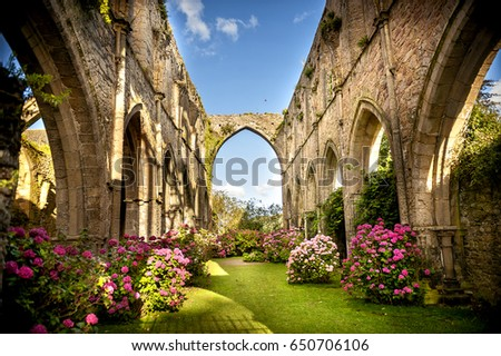 Old Abbaye Maritime de Beauport, in Paimpol, Cotes-d'Armor, Brittany, France #650706106