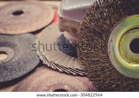 Old abrasive disks for metal and stone grinding, cutting - close up.