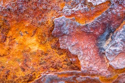 Old abstract iron metal red orange blue corrosion rust texture pattern background surface backdrop, alien planet geology surface look alike